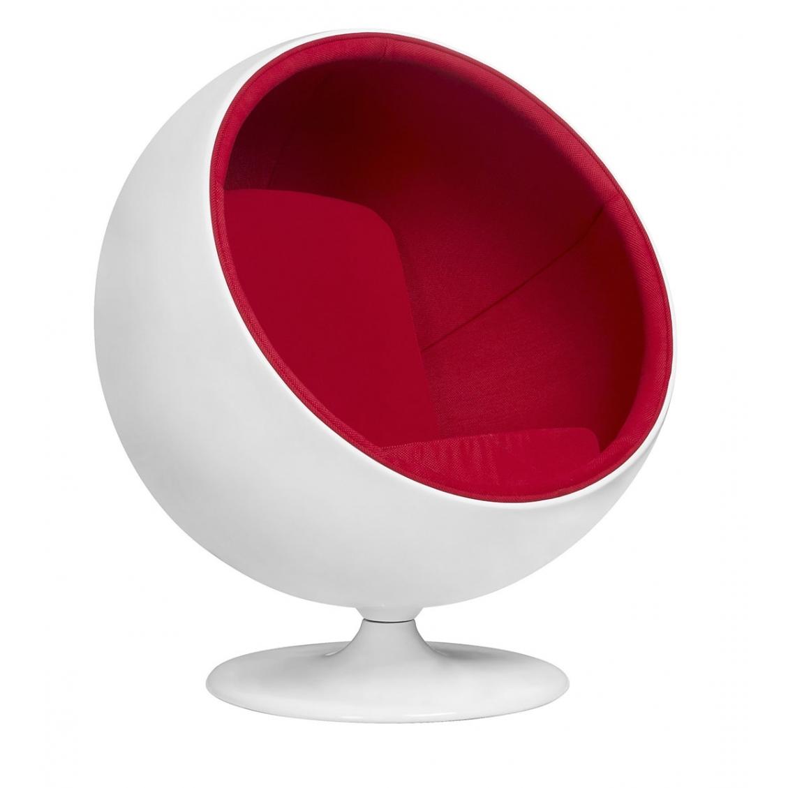 Fotel BALL biało-czerwony - włókno szklane, wełna