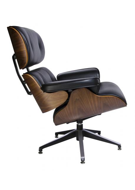 Fotel LOUNGE czarny / orzech - skóra naturalna