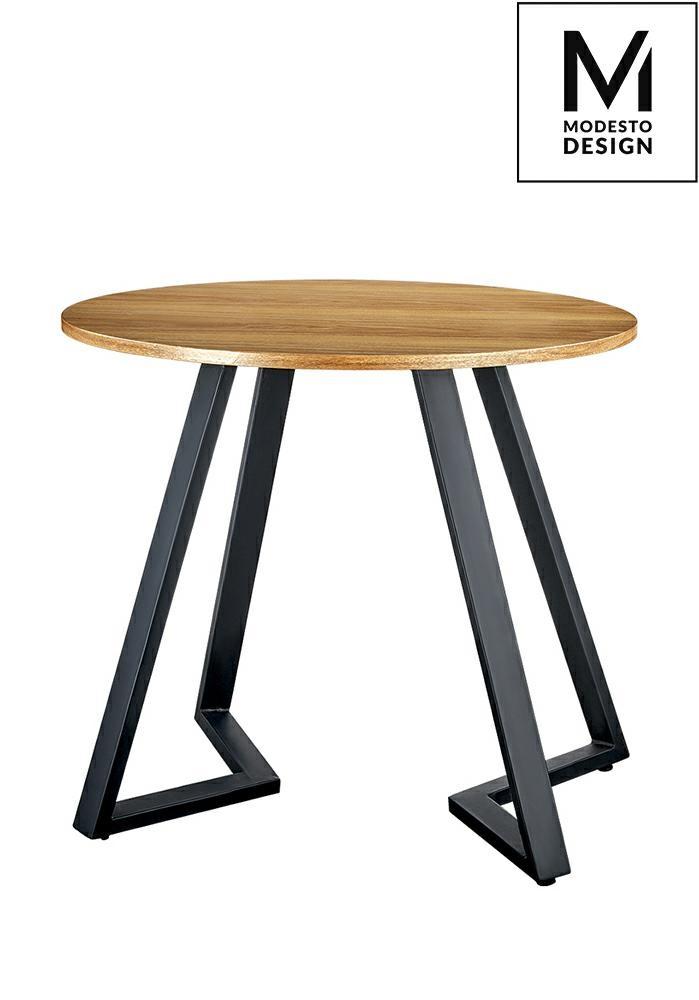 MODESTO stół TAVOLO FI 80 dąb - blat MDF, podstawa metalowa