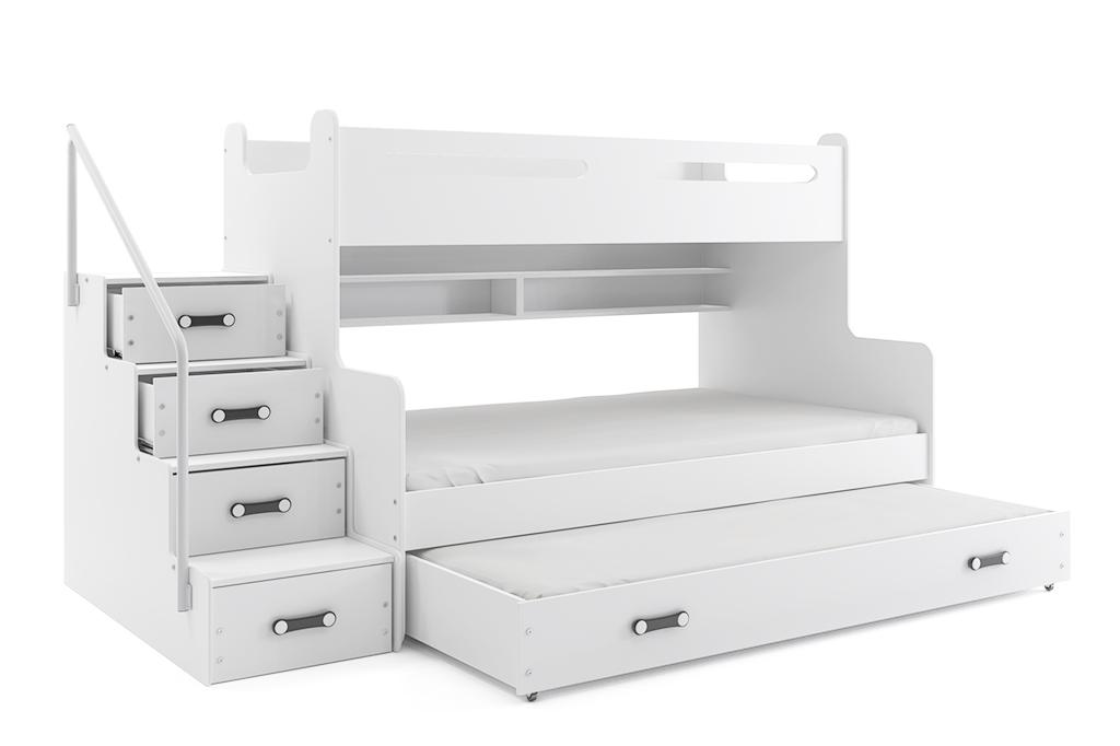 Łóżko Piętrowe Trzyosobowe MAX 3 Z Szufladą