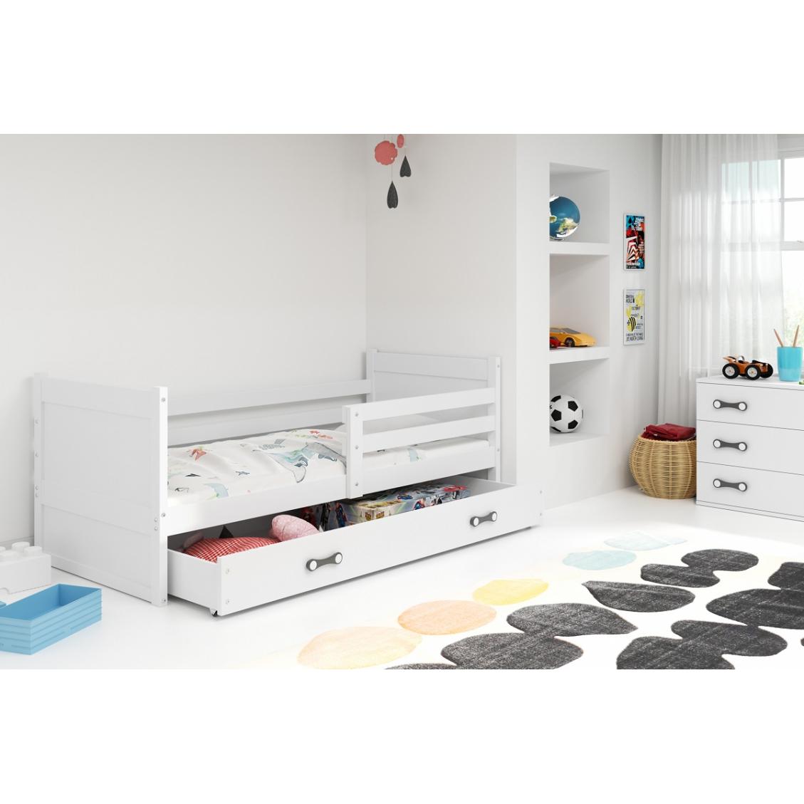 Łóżko RICO pojedyncze z szufladą 190x 80 cm białe