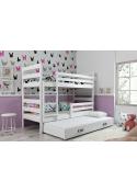 Łóżko piętrowe  ERYK 200x90 trzyosobowe białe