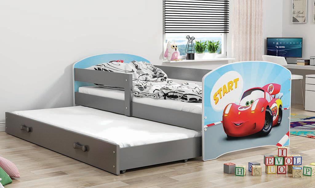 Łóżko LUKI dwuosobowe wysuwane 160x80 grafit
