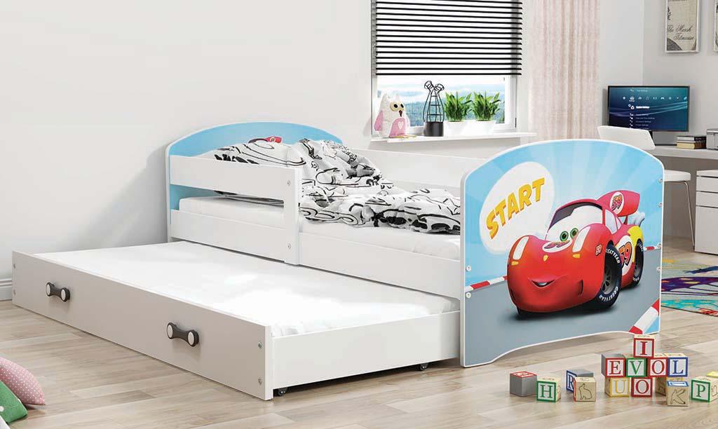 Łóżko LUKI dwuosobowe wysuwane 160x80 białe
