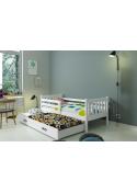 Łóżko Parterowe Dwuosobowe Wysuwane CARINO 190x80 Biały