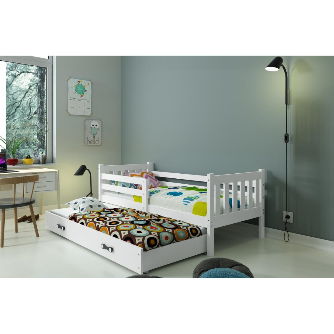 Łóżko CARINO 2 osobowe wysuwane 190 x 80 białe
