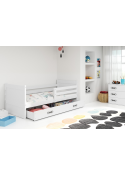 Łóżko RICO 200x90 Jednoosobowe Białe Z Szufladą
