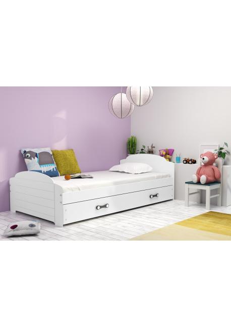 Łóżko LILI pojedyncze z szufladą 200 x 90 cm białe