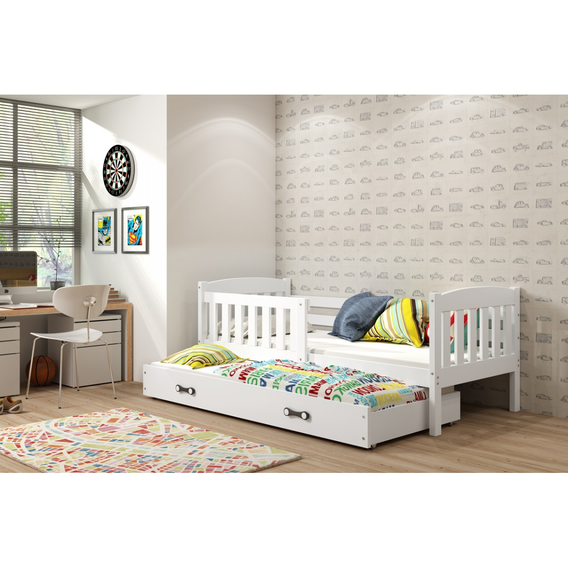 Łóżko Dwuosobowe Wysuwane KUBUŚ 200x90 Biały