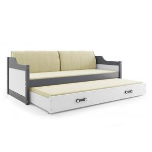 Łóżko DAWID 190x80 Grafitowe dwuosobowe wysuwane