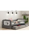 Łóżko FILIP 160x80 grafitowe jednoosobowe z szufladą