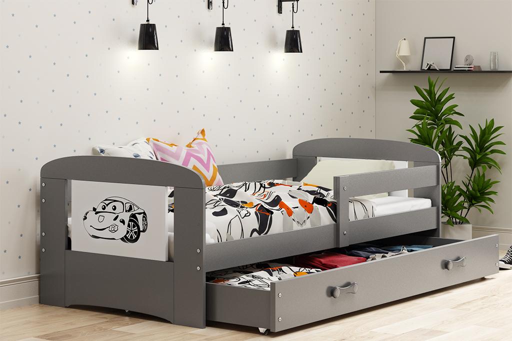 Łóżko FILIP z szufladą 160 x 80 cm grafit