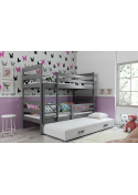 Łóżko piętrowe ERYK 190x80 trzyosobowe grafit
