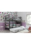 Łóżko piętrowe ERYK 200x90 trzyosobowe grafit
