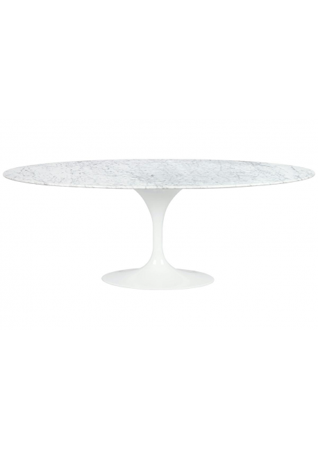 Stół TULIP ELLIPSE MARBLE biały - blat owalny marmurowy