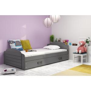 Łóżko LILI pojedyncze z szufladą 200 x 90 cm grafitowe