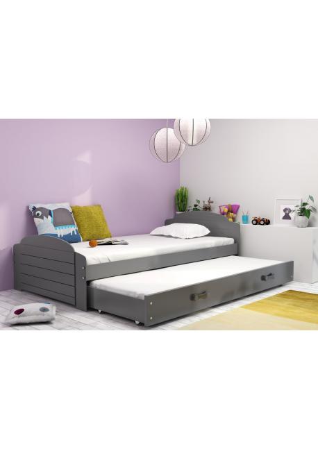 Łóżko wysuwane  2 osobowe LILI 200 x 90 cm grafitowe