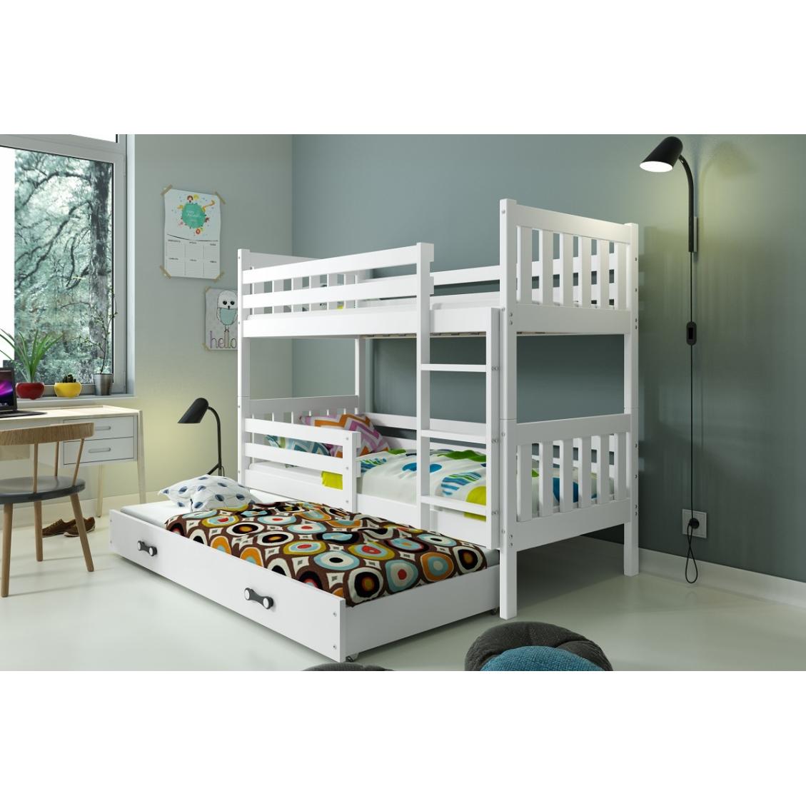 Łóżko Piętrowe Trzyosobowe CARINO 190x80 Biały