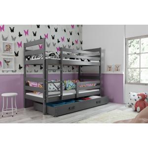 Łóżko Piętrowe ERYK 200x90 dwuosobowe  z szufladą grafit